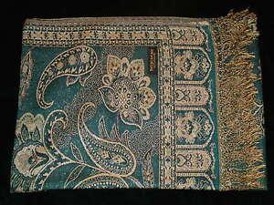 Antiques Asian Antiques Pashmina Elegante Bufanda Estola Grand Pañuelo Étnico Chic Gala Boho India 9 Pleasant To The Palate