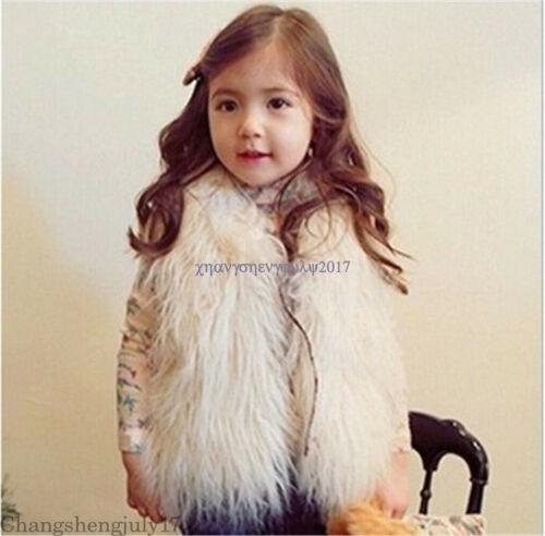 Fashion Kids Baby Girs Winter Fax Fur Fleece Lined Coat Warm Outwear Jackets