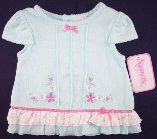 18M 12M 24M NWT Nannette Girls 2 Pc Aqua /& Pink Floral Set Outfit 3-6M 6-9M