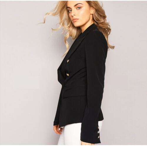 UK Womens Double Breasted Gold Button Front Military Blazer Coat Outdoor Jackets
