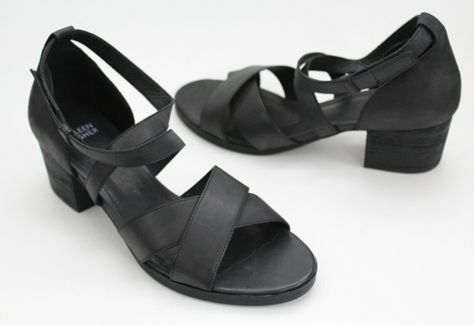 NEWEileen Fisher Kerby Sandal Criss Cross Black Leather Ankle Strap-sZ 8.5 9.5