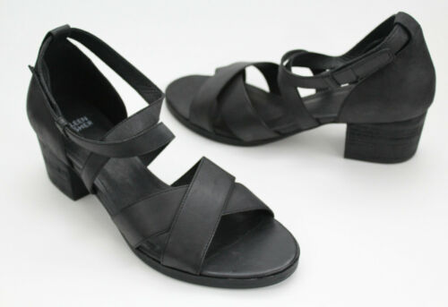 NEW**Eileen Fisher Kerby Sandal Criss Cross Black Leather Ankle Strap-sZ 8.5//9.5
