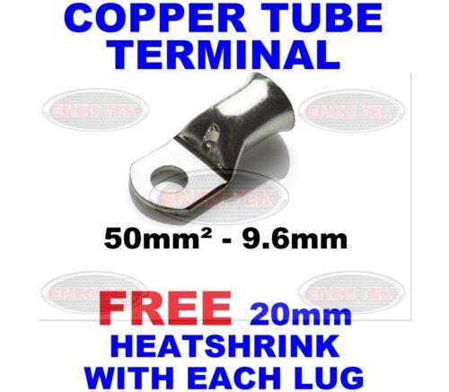 9.6mm Copper Tube Terminal Battery Welding Cable Lug Ring Crimp Eyelet 50mm²