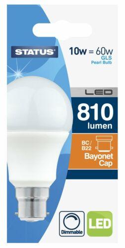 10W LED Bayonet Cap Dimmable GLS Bulb 810 Lumen 10SLDGBCPB13 STATUS