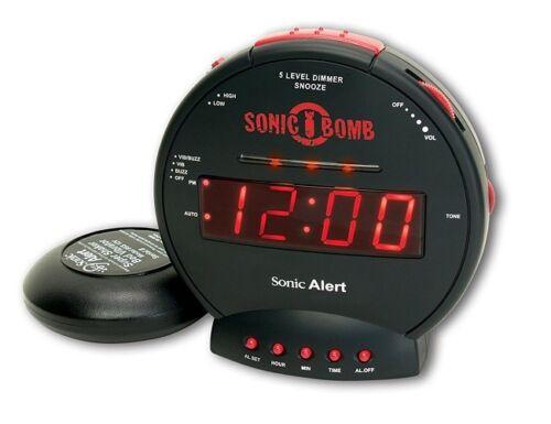 Sonic Alert Loud Alarm Clock In Black Shakes Bed Alert Lights Large Red LCD