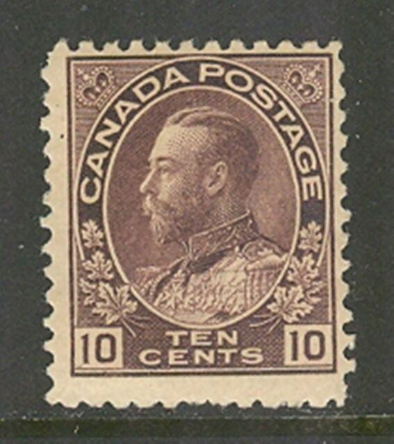 Canada #116, 1912 10c King George V - Admiral Issue, Unused Hinged