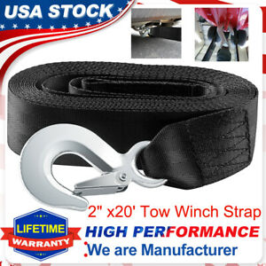 """Heavy Duty 2"""" x20' Boat Truck Trailer Tow Replacement Winch Strap Rope Snap Hook"""