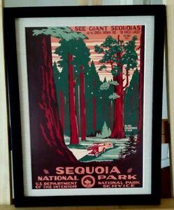 Sequoia California Sherman Tree Vintage National Park Service Wpa Framed 9 X 12 Ebay