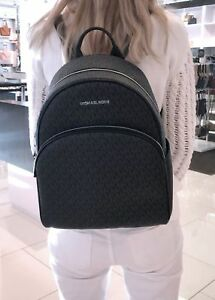 d1c09e2f7070 Image is loading MICHAEL-KORS-ABBEY-LARGE-BACKPACK-BLACK-MK-SIGNATURE-