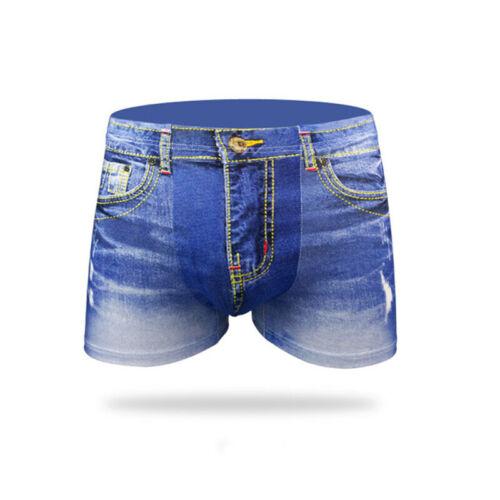 Plus Size 3D Mens Cotton Shorts Jeans Boxer Trunks Briefs Underwear Knicker NEW
