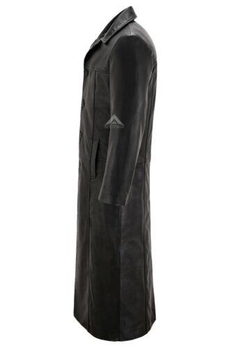 Uomo Nero Full-LENGHT Cappotto Lungo 100/% Pelle Di Agnello Pelle DETECTIVE SERIE 3484
