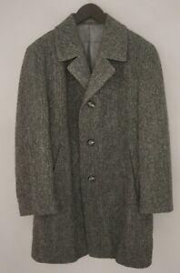 Men-Harris-Tweed-Coat-Jacket-Scottish-Wool-Grey-EU52-UK-US42-L-HA19