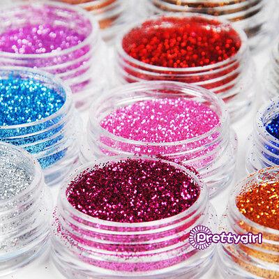 12 Colors Metal Fine Glitter Nail Art Tool Kit Acrylic UV Powder Decor Dust kit