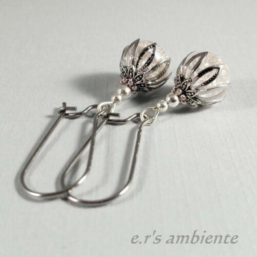 0305 montaña cristal-imitación Pendientes con vidrio-perlas plata-Vintage-look