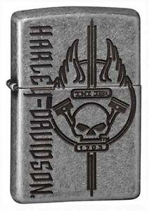 Zippo-Unisex-Lighter-Harley-Davidson-Armour-Silver-Plate-Windproof-Lighter