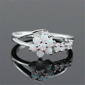 Elegant-Women-Flower-White-Fire-Opal-Gemstone-925-Silver-Jewelry-Ring-Size-6-10