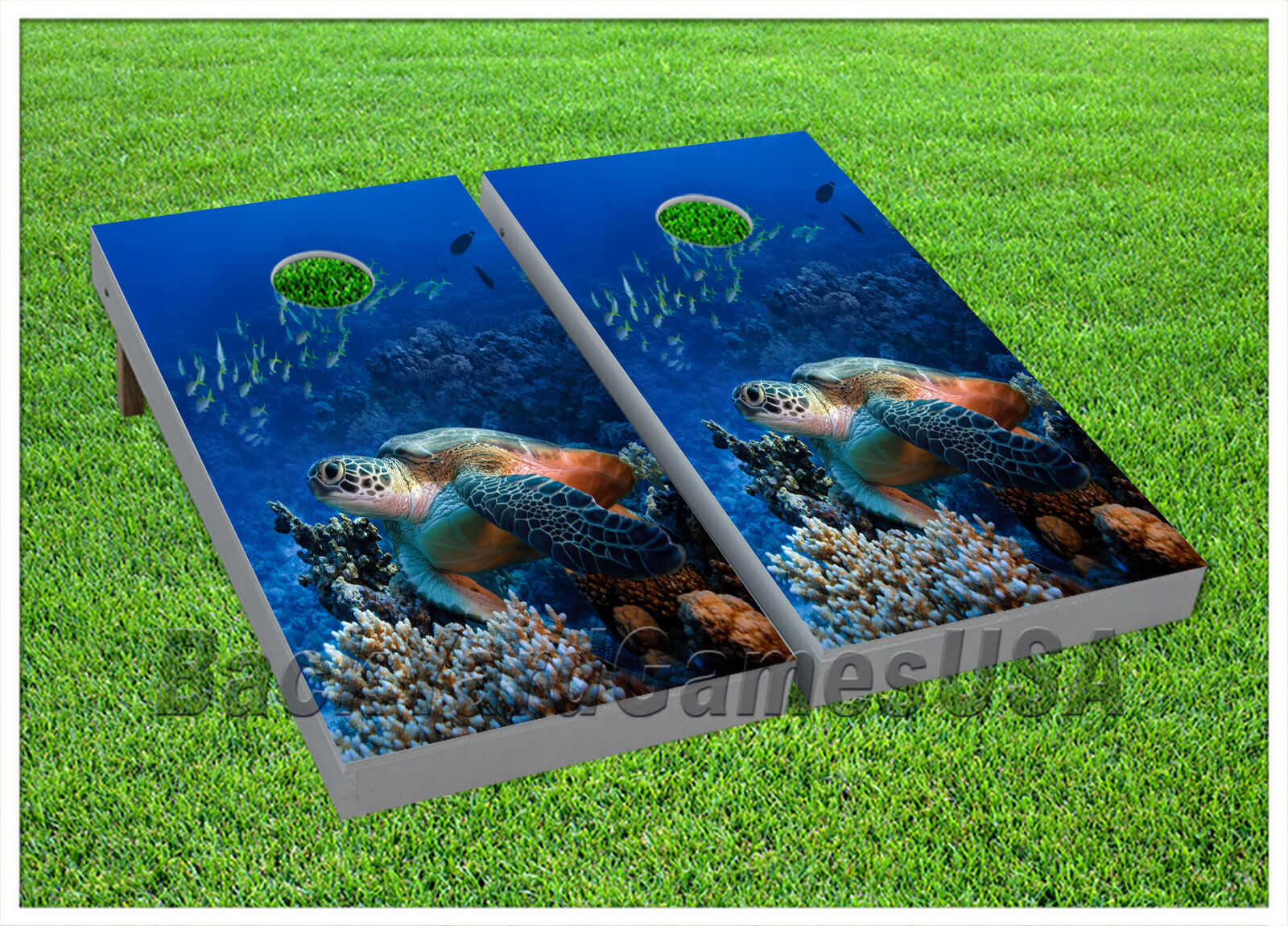 VINYL Deep Water Large Tortoise WRAPS CORNHOLE BEANBAG Boards 1000