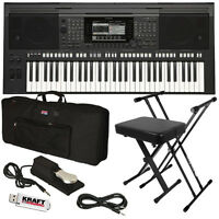 Yamaha Psr-s770 Arranger Workstation Keyboard Stage Essentials Bundle on sale