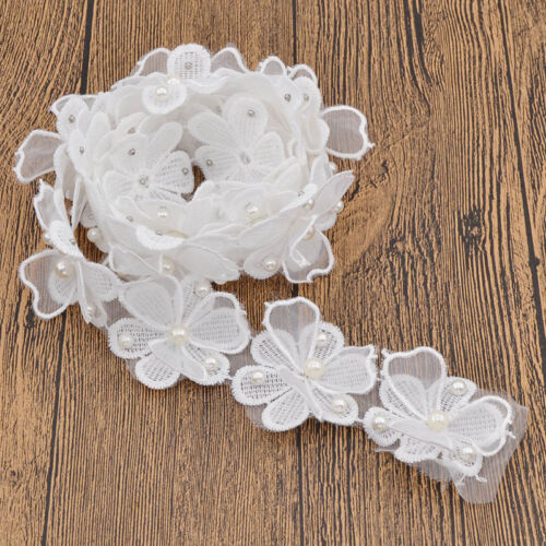 Floral Pearl Diamond Lace Edge Women Wedding Accessories Handmade Sewing Craft