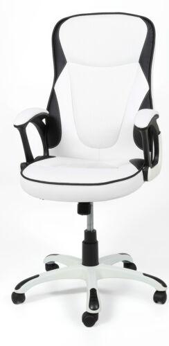 Drehstuhl Drehsessel Bürosessel weiß schwarz Armlehne Wippfunktion Bürostuhl Neu