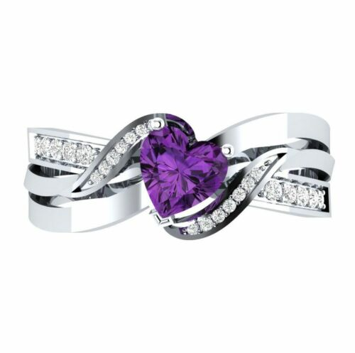 Fashion woman Heart Shape 1.85ct Amethyst 925 Silver New Ring Size  6-10
