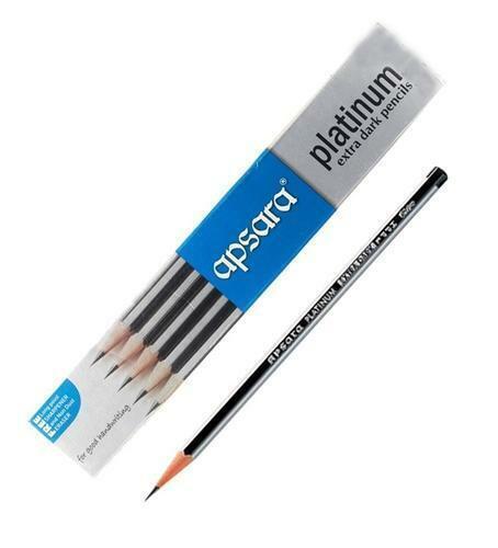 APSARA PLATINUM PENCILS EXTRA SUPER DARK FREE 1 Sharpener /& Eraser 10 PENCILS