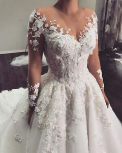Sexy-Wedding-Dresses-Bridal-Gown-Cathedral-Custom-Lace-Applique-Sweetheart-White