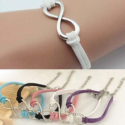 L7S Handmade Korea Silver Plated Infinity Friendship Leather Bracelet Bangle