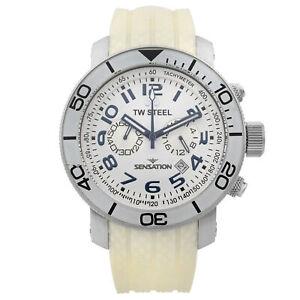 TW Steel Sensation White Leather White Dial Quartz Mens Watch TW834