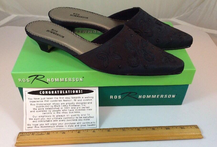NIB Ros Hommerson Black Monarch Silk Size 9 S Slip On Womens Shoes Butterflies