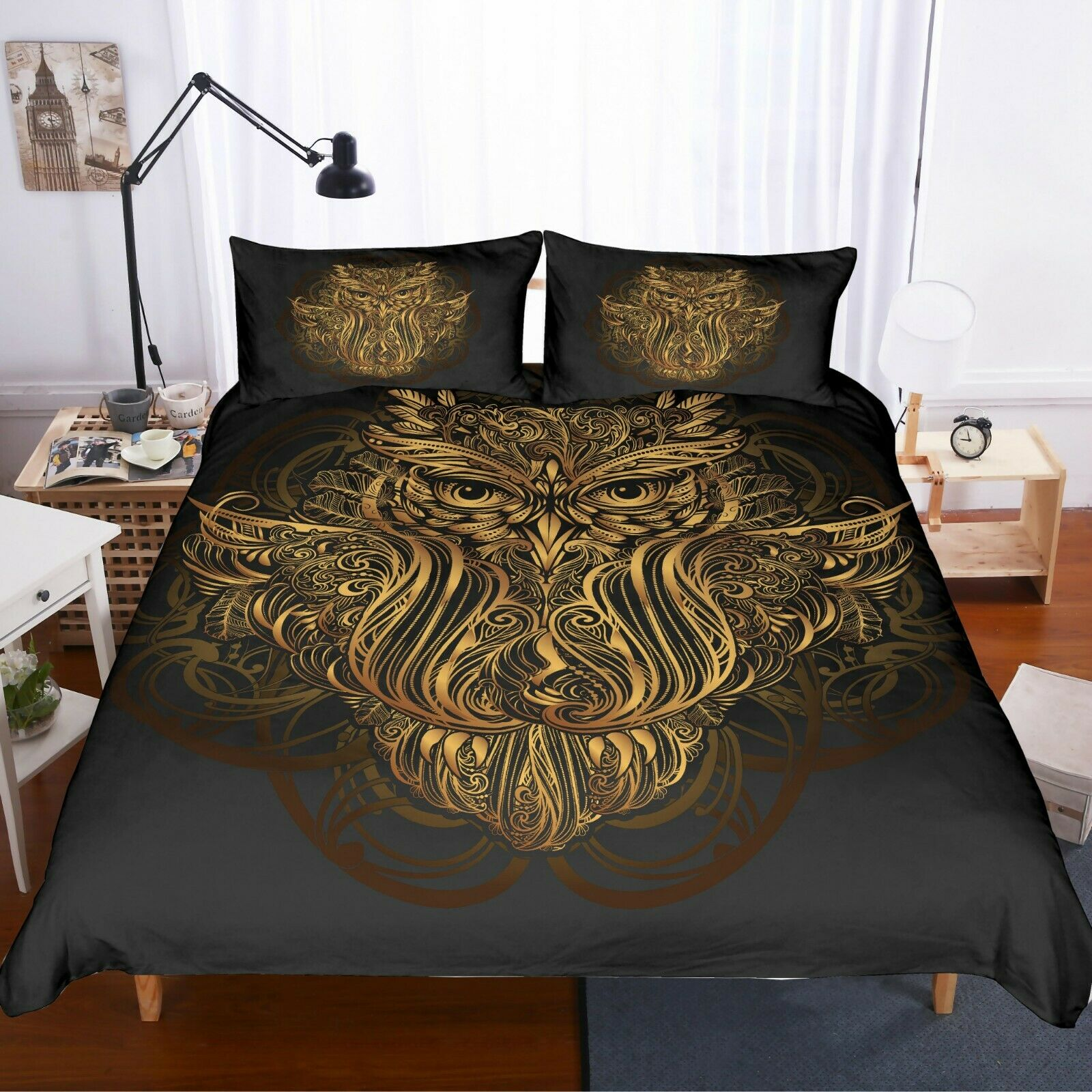 3D Gold Stamping Floral Owl Quilt Cover Set Bedding Duvet Cover Pillow 36