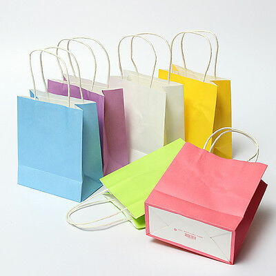 1~100pcs kraft Paper Bags handle Party Wedding Gift Present Paper Bag 15*8*18cm