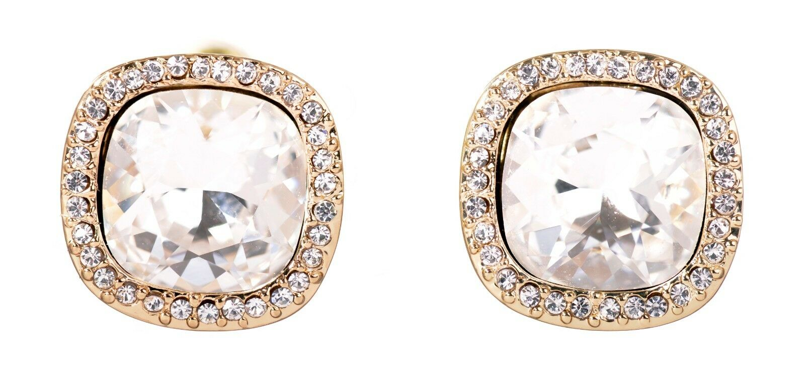 Swarovski Elements Crystal Square Halo Pierced Earrings gold Authentic New 7325z