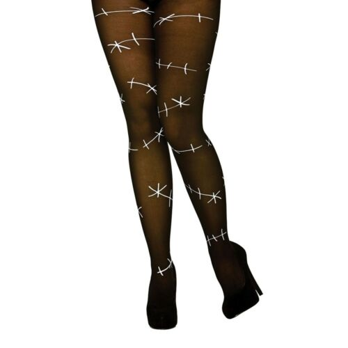 Black Stitched Up Tights Ladies Halloween Hosiery Fancy Dress