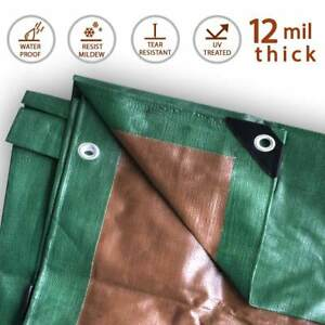 12-Mil-Heavy-Duty-Tarp-Green-Brown-Reversible-Tarpaulin-Waterproof-UV-Cover