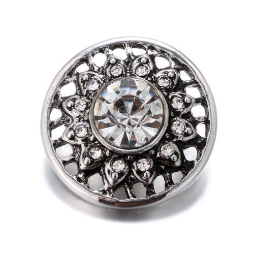 10pcs 18 mm FLEUR Strass Alliage boutons pressions Fit noosa snap Bracelet N574