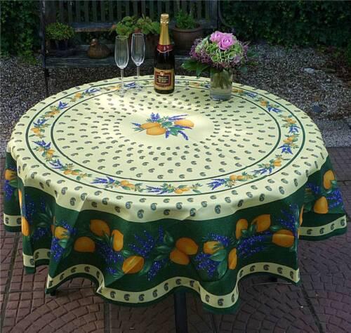 pflegeleicht und bügelfrei Tischdecke Provence 180 cm rund grün aus Frankreich