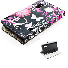 Beautiful Stand Flip Leather Card Butterfly Case For LG Optimus L5 II Dual E455