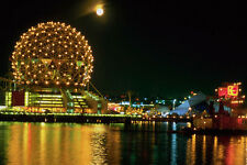 454067 Expo 86 Center And Full Moon Vancouver British Columbia A4 Photo Print