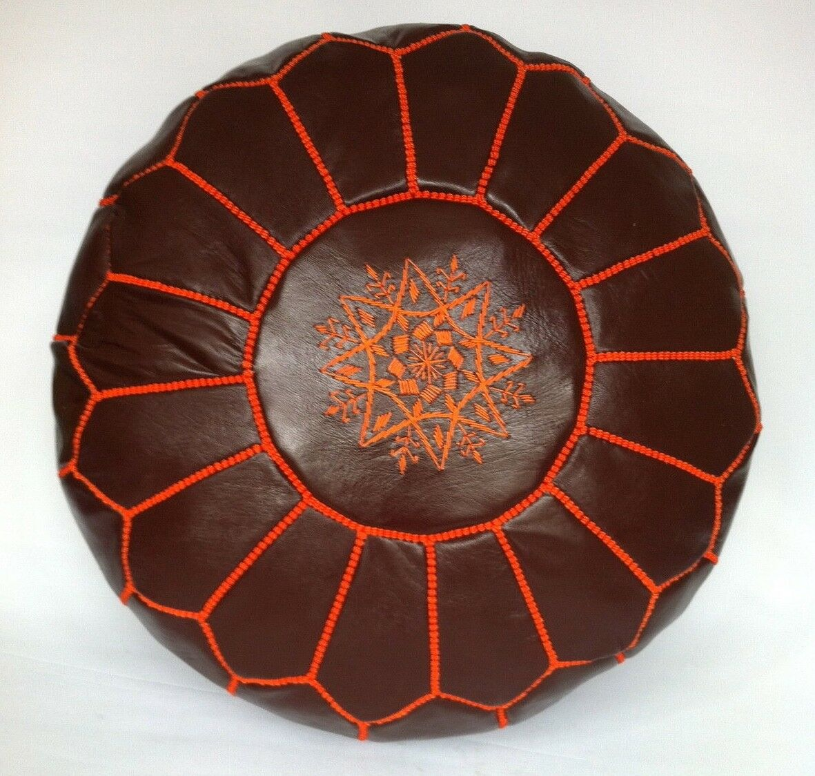 100% Leather Handcrafted MGoldccan Pouffe Dark Tan with Orange embroidery