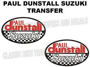 Dunstall-Suzuki-Trasferimenti-Decalcomanie-Venduto-in-Coppia-Bianco-Fondo-Moto