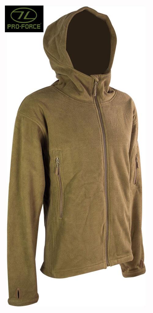 Da Uomo Uomo Uomo Militare Esercito Combattimento Felpa con Cappuccio Zip Fleece Felpa Con Cappuccio Sudore Giacca Camicia TAN TOP ce80b5