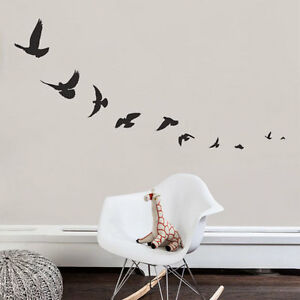 1970a9e8793 Image is loading FLYING-BIRDS-Sparrow-Swallow-Vinyl-Wall-Decals-Stickers-