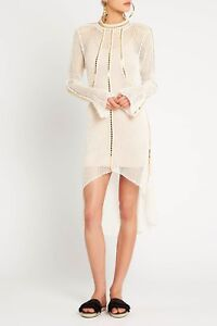 SASS-AND-BIDE-EMBELLISHED-CROCHET-KNIT-DRESS-in-Ivory-Gold-RRP-590-size-L