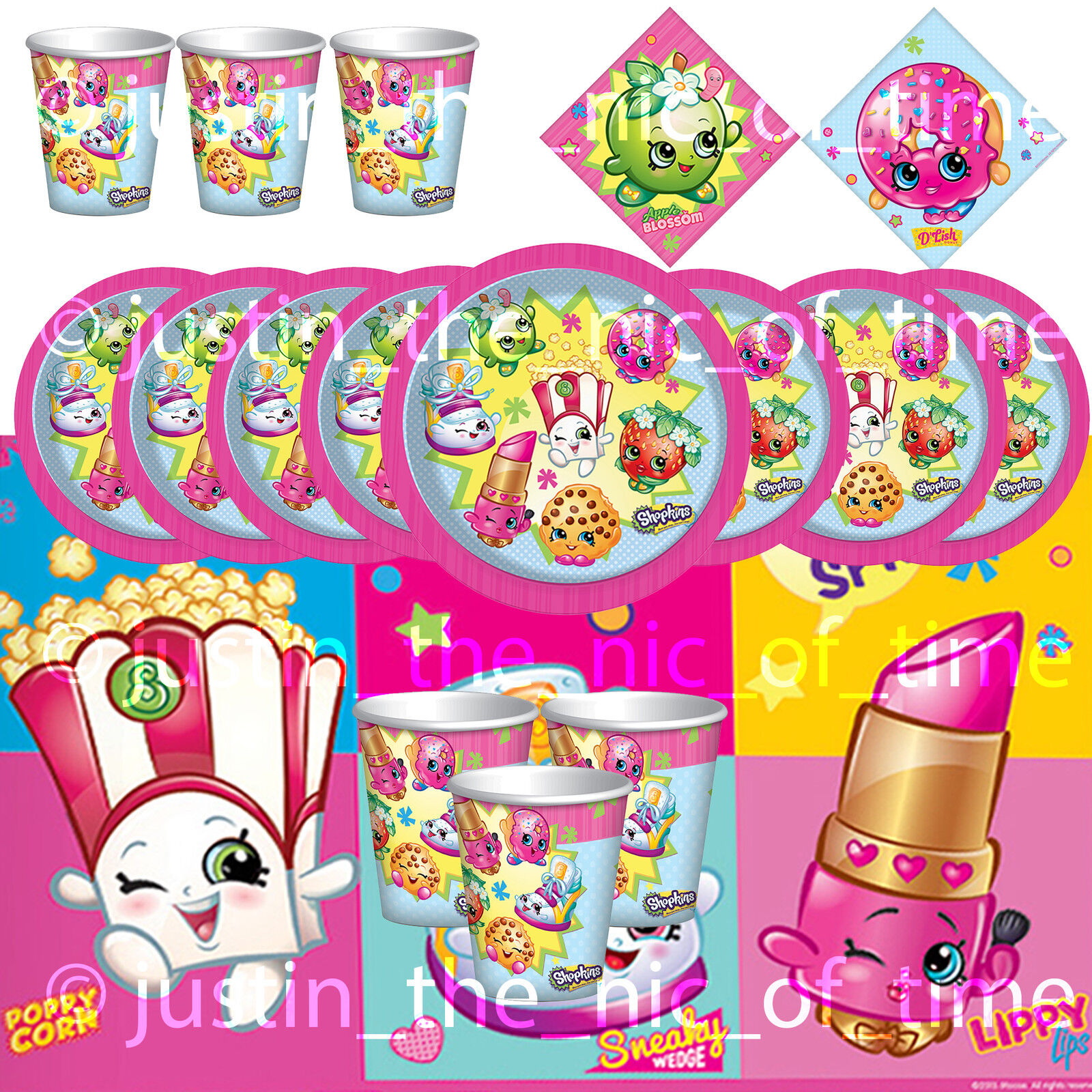 SHOPKINS Tableware Girls BIRTHDAY PARTY KITS 8 - 48 Guests Basic Kit Table Ware