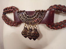 Belly Dancer Braided Leather Belt Gypsy Tribal Egyptian hippie boho festival