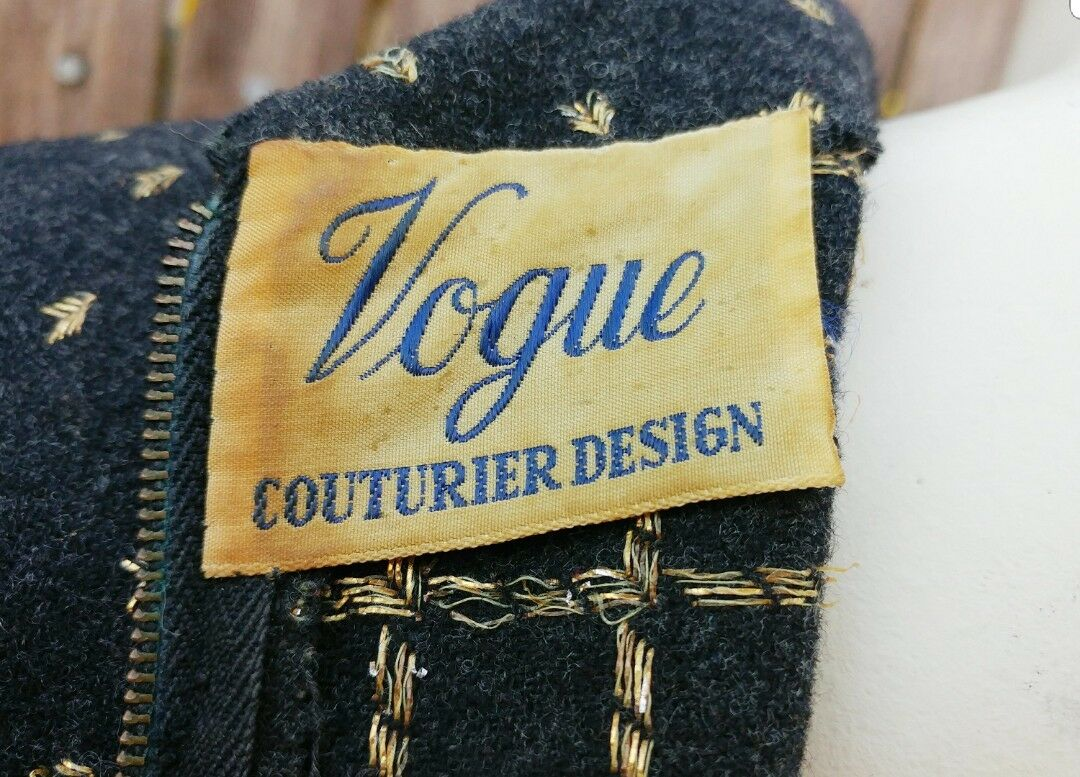Vintage 50s Vogue Couturier Wool Dress Small - image 3