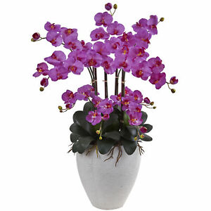 Artificial 34 Phalaenopsis Orchid Flowers Arrangement With Round