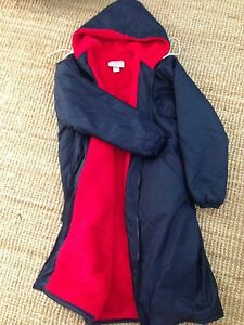 Purcells Activewear Swim Parka Navy with Red Lining size Small