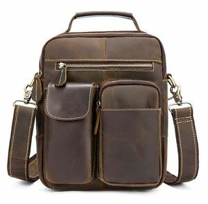 Men's Retro Genuine Cow Leather Messenger Shoulder Bag Crazy Horse Handbag S